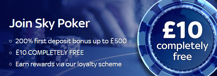 sky poker welcome bonus